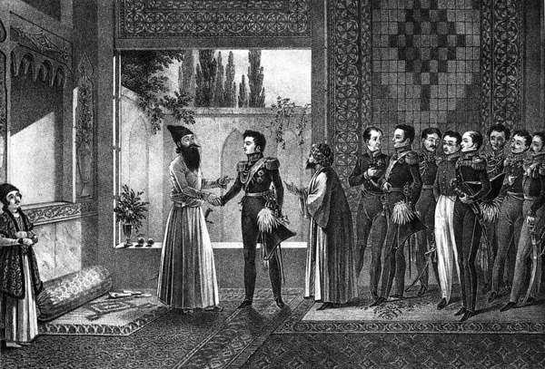Прицн Аббас-Мирза приветствует героя кавказской кампании генерала Паскевича